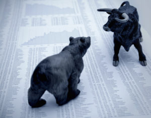 Bull and bear , symbolic beasts of market trend